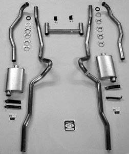 """Exhaust - Exhaust Systems - Complete - Shafer's Classic - 1955 - 1957 Chevrolet Full Size 2-1/2"""" Dual Turbo Exhaust System"""