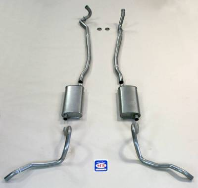 Exhaust - Exhaust Systems - Complete - Shafer's Classic - 1967-69 Full Size Chevrolet Exhaust System for Station Wagon with Big Block with Stock Cast Iron Manifolds