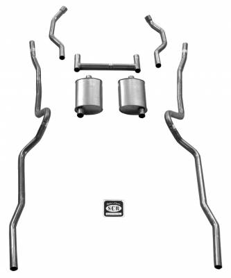 "Exhaust - Exhaust Systems - Complete - Shafer's Classic - 1955 - 1957 Chevrolet Full Size 2"" Dual Turbo Exhaust System"
